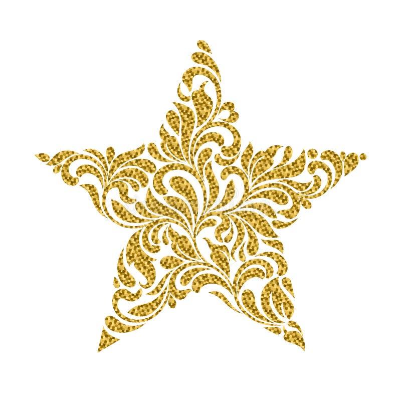 Звезда созданная от абстрактного флористического орнамента изолированного на белой предпосылке иллюстрация штока