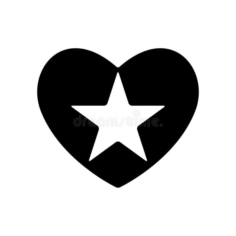 Звезда стрельбы в черном сердце Дизайн конкретного объекта дня валентинок Изолированная иллюстрация вектора иллюстрация штока