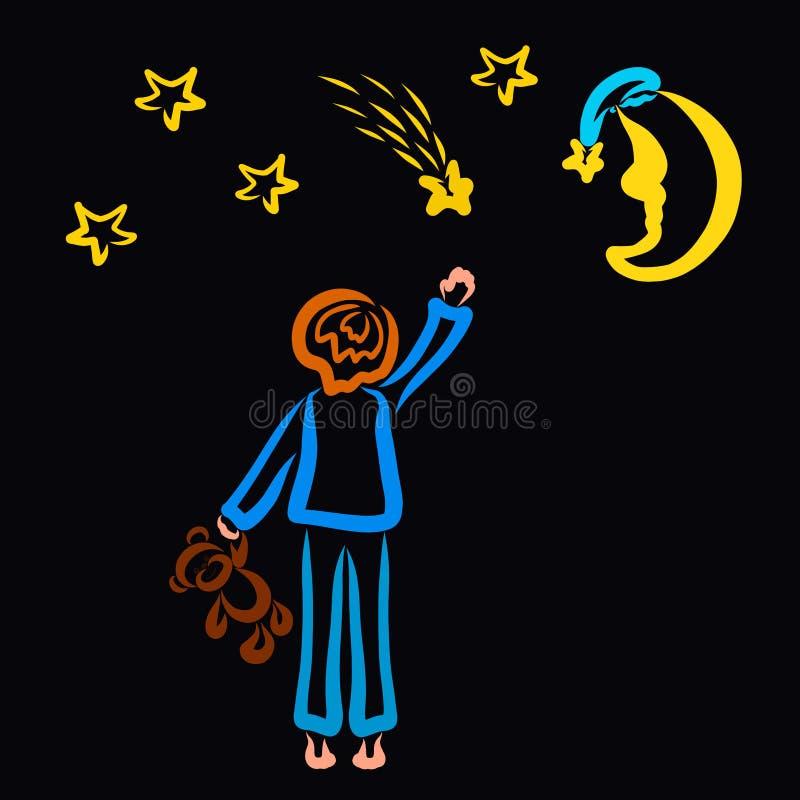 Звезда стрельбы и месяц, мальчик делают желание иллюстрация штока