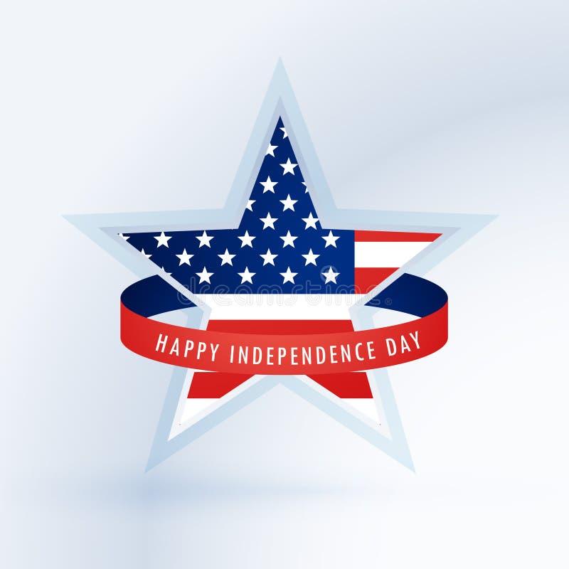 Звезда с американским флагом 4-ая конструкция июль иллюстрация штока
