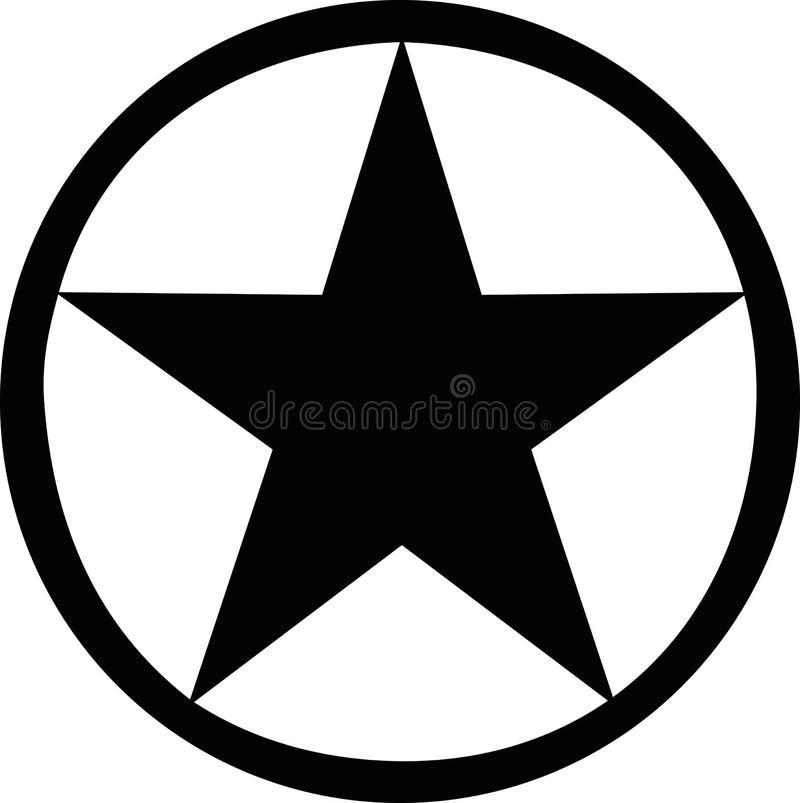 Звезда с черным кругом вокруг его иллюстрация штока