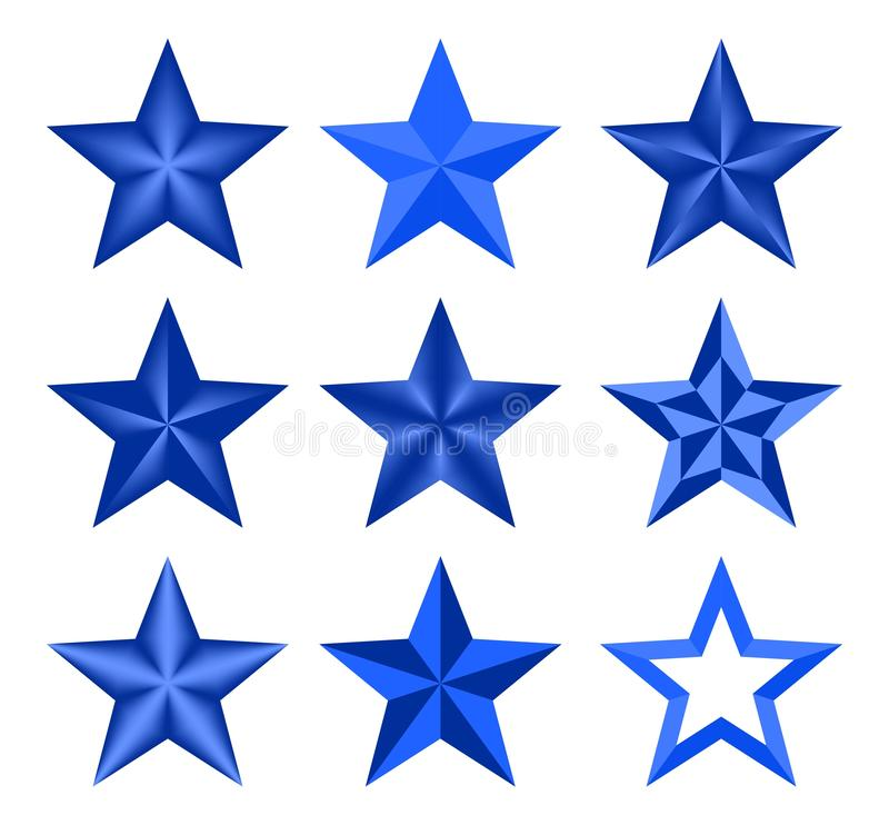 Звезда установленного голубого рождества вектора классическая элегантная Звезды составленные вверх светлых и темных геометрически бесплатная иллюстрация