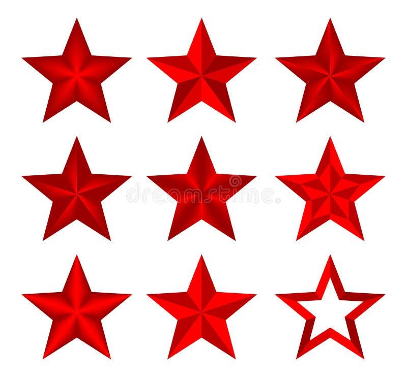 Звезда установленного красного рождества вектора классическая элегантная Звезды составленные вверх светлых и темных геометрически бесплатная иллюстрация