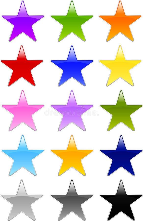 звезда формы геля кнопок стеклянная иллюстрация штока