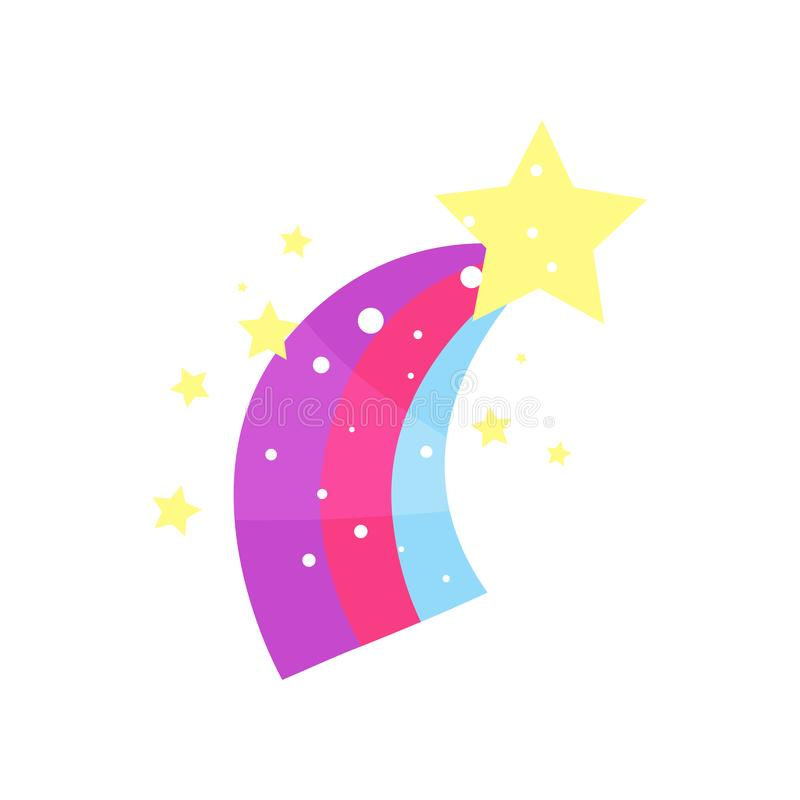 Звезда шаржа с иллюстрацией вектора кабеля радуги иллюстрация вектора