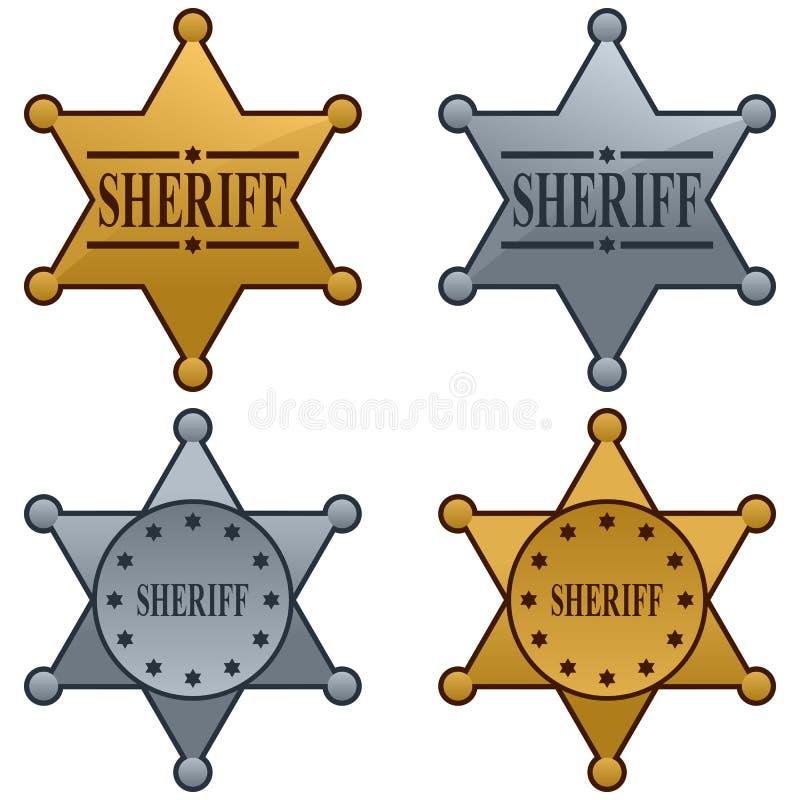 звезда шерифа значка установленная бесплатная иллюстрация