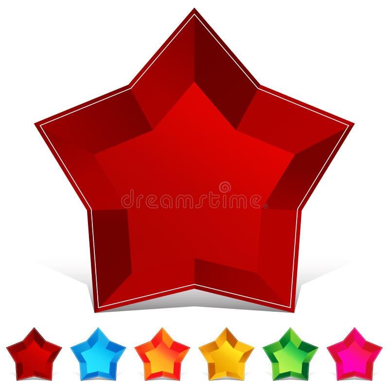звезда gemstone кнопки установленная иллюстрация штока
