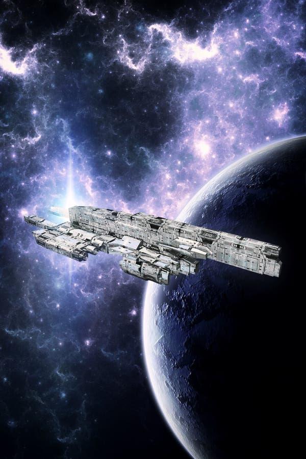 Звездное скопление и планета космического корабля иллюстрация штока