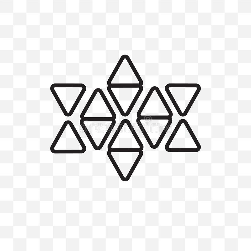 Звезду 6 пунктов значка вектора линейного изолированного на прозрачной предпосылке, звезде 6 пунктов концепции транспарентности м иллюстрация штока