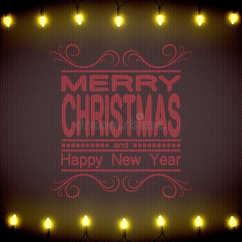 звезды абстрактной картины конструкции украшения рождества предпосылки темной красные белые Брайн связал свитер и строку светов иллюстрация штока