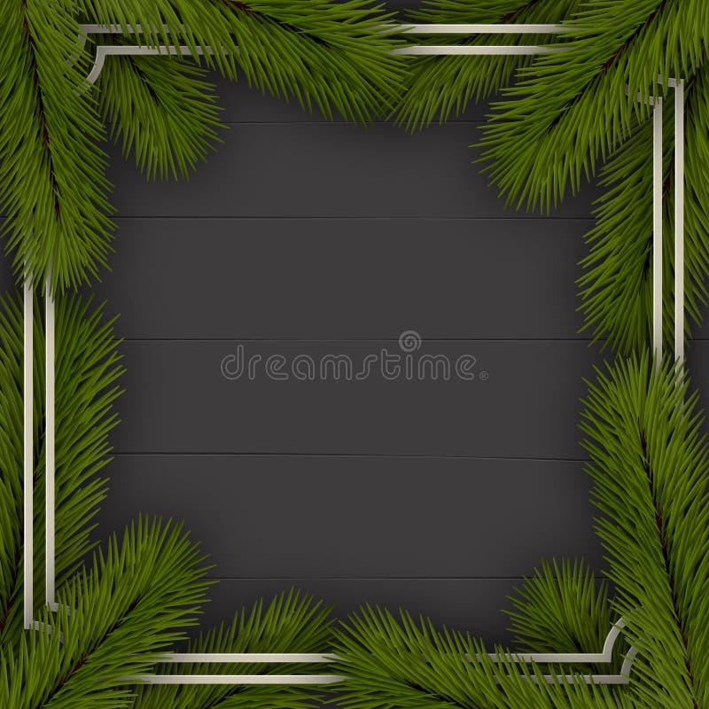 звезды абстрактной картины конструкции украшения рождества предпосылки темной красные белые Рамка ветвей рождественской елки На д иллюстрация вектора