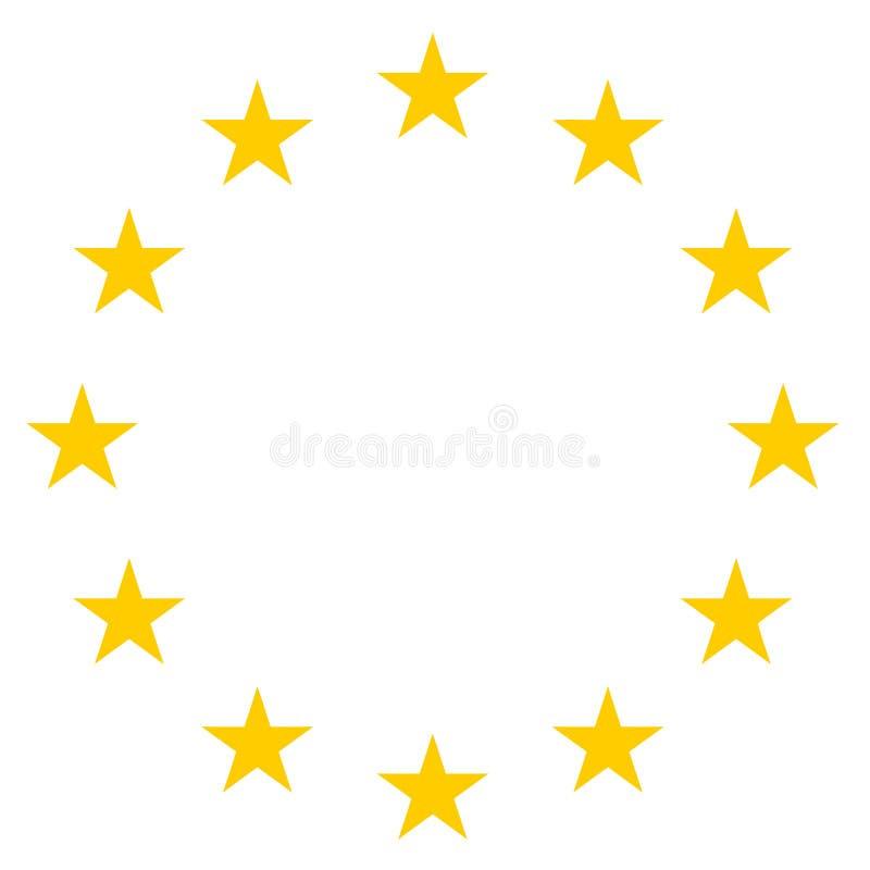 Звезды в значке круга - желтой иллюстрации вектора - изолированном на белизне бесплатная иллюстрация