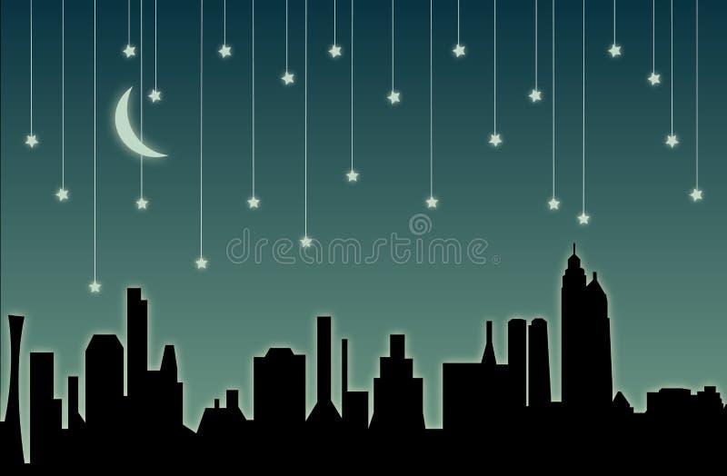 звезды городского пейзажа падая бесплатная иллюстрация