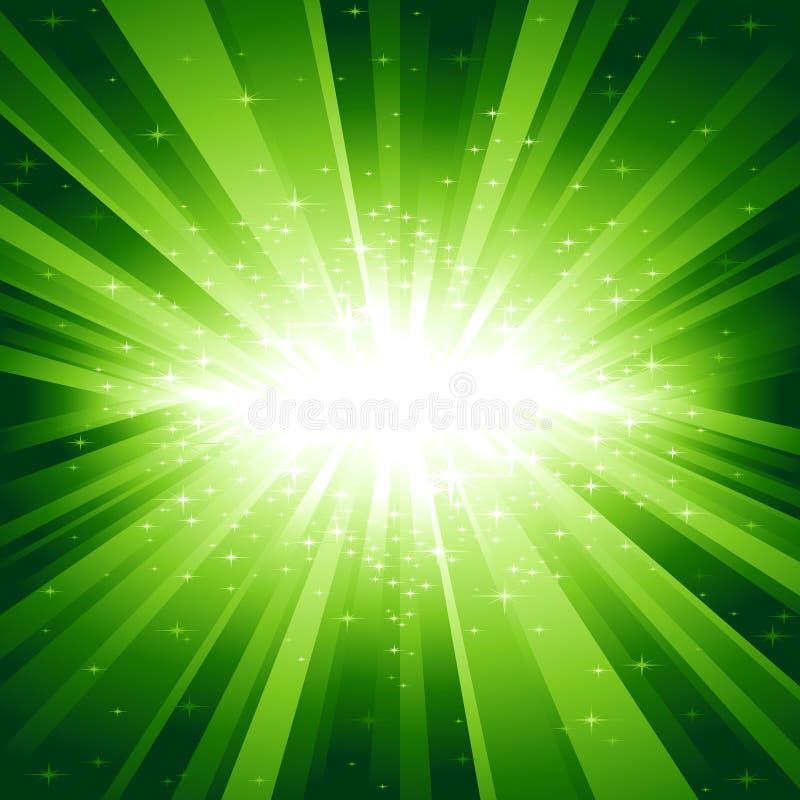 звезды зеленого света взрыва иллюстрация вектора