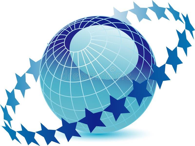 звезды кольца глобуса иллюстрация вектора