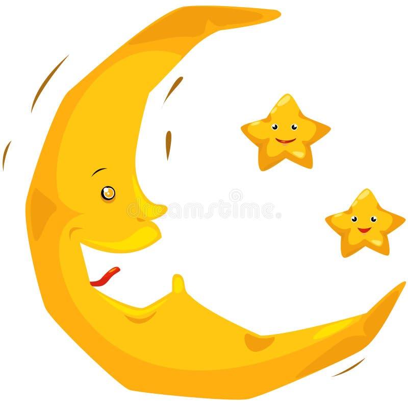 звезды луны иллюстрация вектора