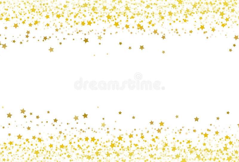 Звезды разбрасывают celebrat галактики знамени рамки золота confetti яркого блеска иллюстрация вектора