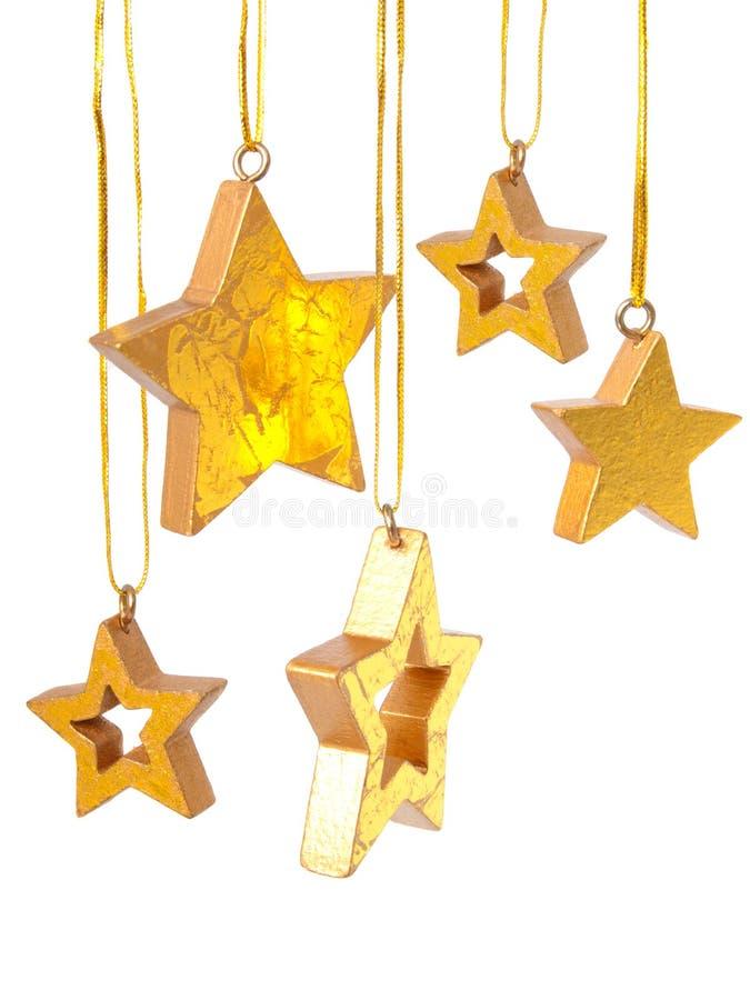 звезды рождества золотистые стоковое изображение