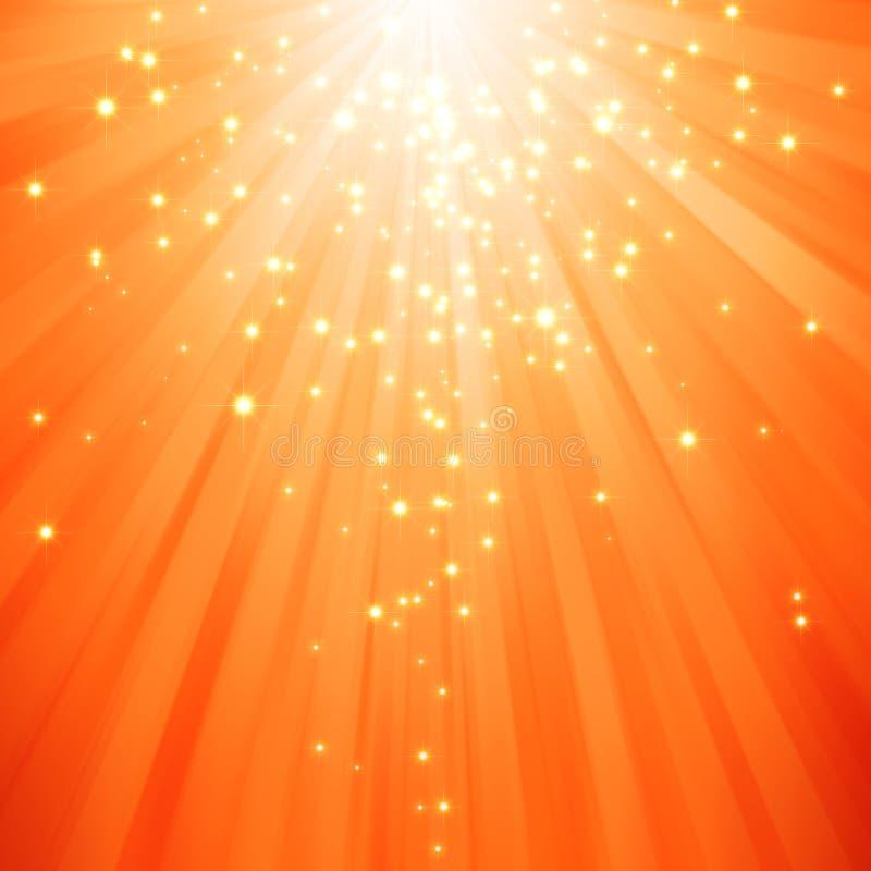 звезды света яркия блеска лучей ничходящие иллюстрация вектора