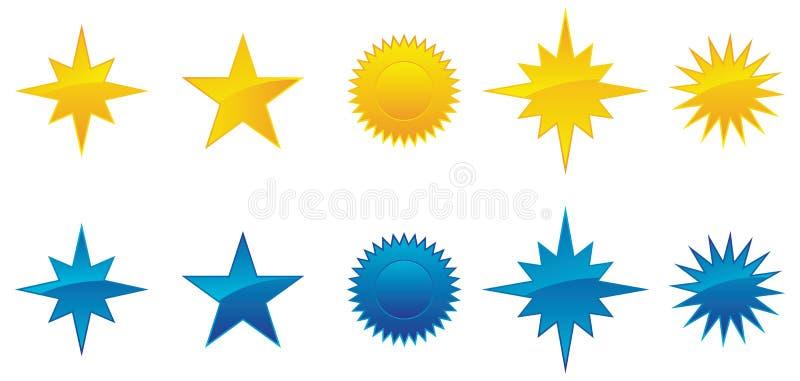 звезды собрания лоснистые иллюстрация вектора
