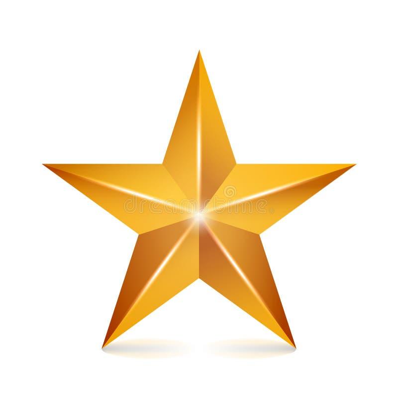 Звезда вектора достижения Желтый знак Золотой символ украшения значок блеска 3d изолированный на белой предпосылке бесплатная иллюстрация