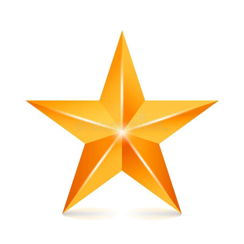 Звезда вектора достижения Желтый знак Золотой символ украшения значок блеска 3d изолированный на белой предпосылке иллюстрация вектора