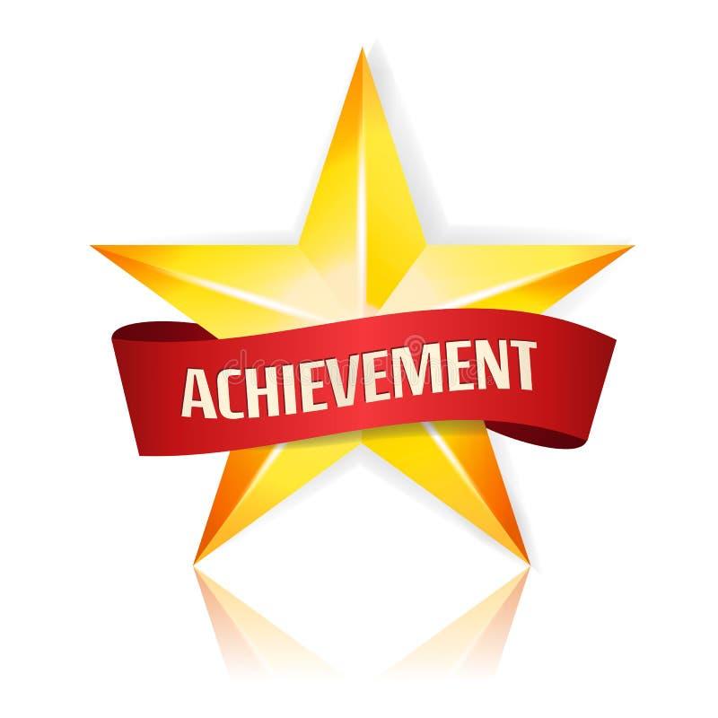 Звезда вектора достижения с красной лентой Желтое место знака для текста Золотой символ украшения 3d блеск o изолированный значко иллюстрация штока