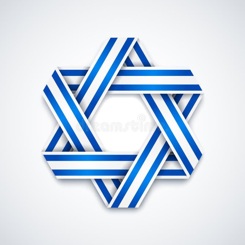 Звезда Дэвида сделала переплетенной ленты с нашивками флага Израиля иллюстрация штока