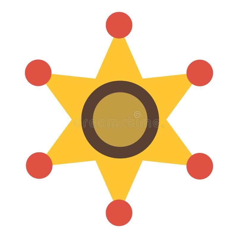 Звезда золота значка шерифа, плоского стиля бесплатная иллюстрация