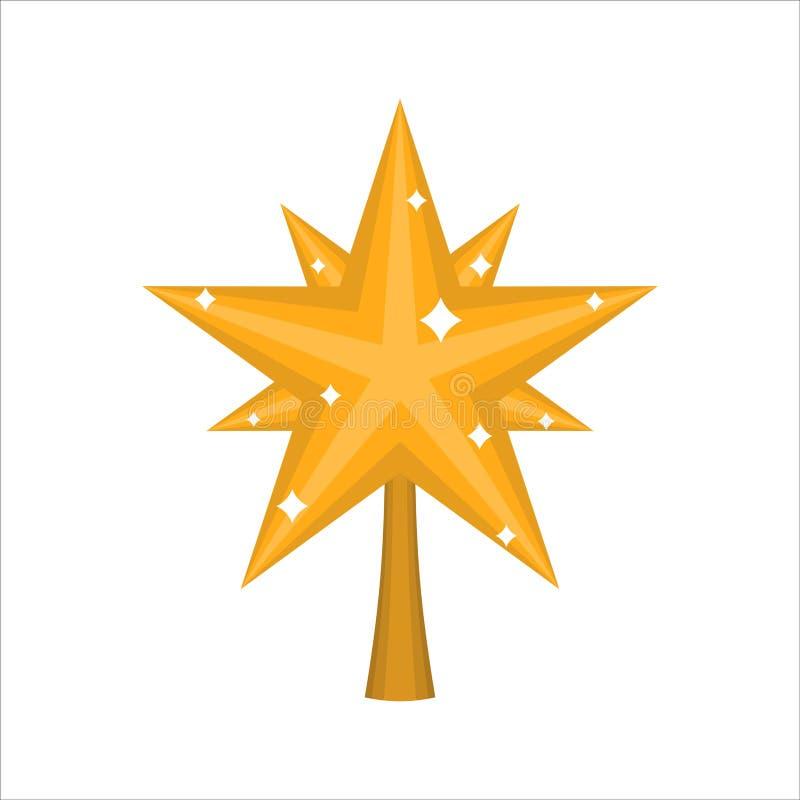 Звезда золота рождества для дерева украшение для изолированной ели иллюстрация штока