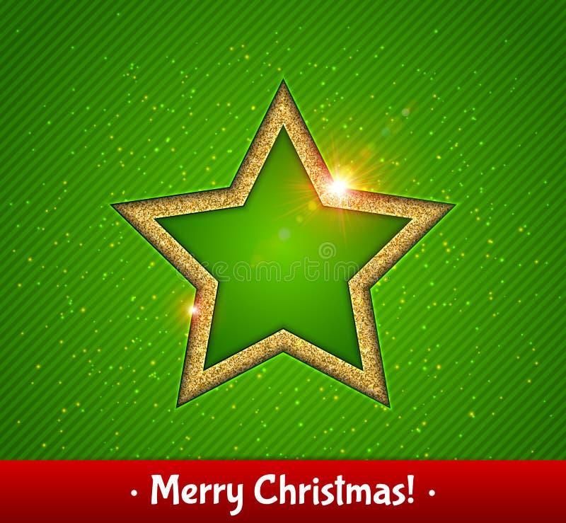 Звезда золота сияющая, зеленая предпосылка приветствие рождества карточки бесплатная иллюстрация