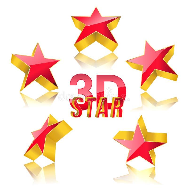 звезда красного цвета 3d иллюстрация штока