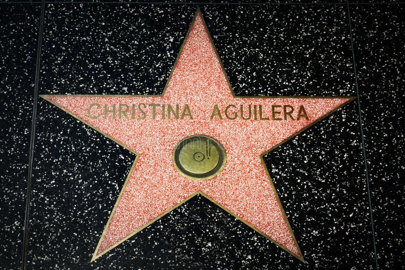 Звезда Кристины Aguilera на прогулке Голливуда славы стоковые фото