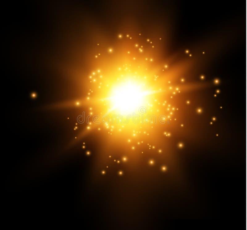 Звезда на голубой предпосылке яркая вспышка Реалистический взрыв с пирофакелом также вектор иллюстрации притяжки corel бесплатная иллюстрация