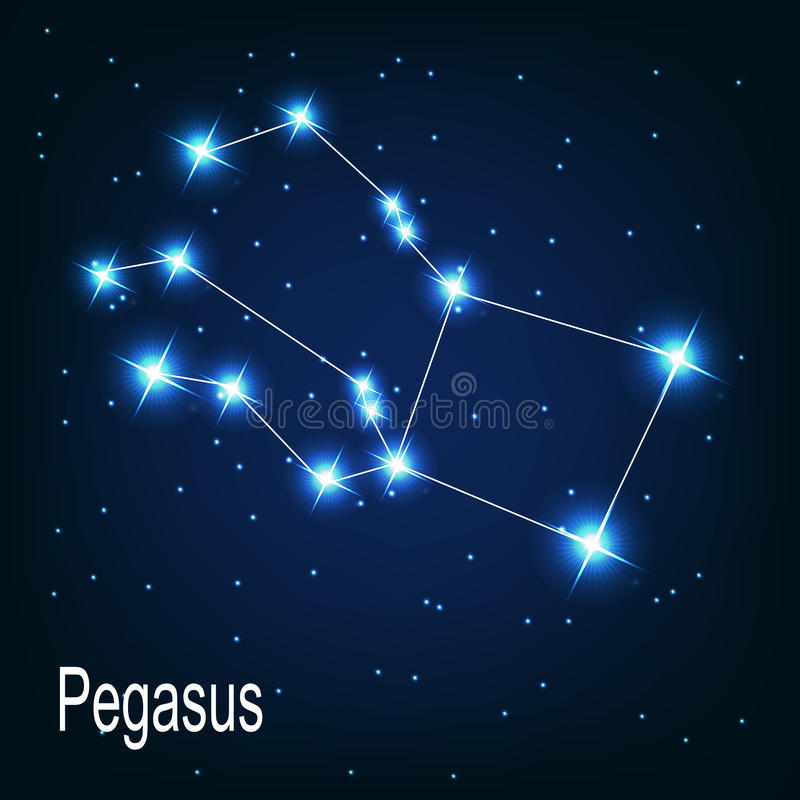 Звезда Пегаса созвездия в ночном небе. бесплатная иллюстрация