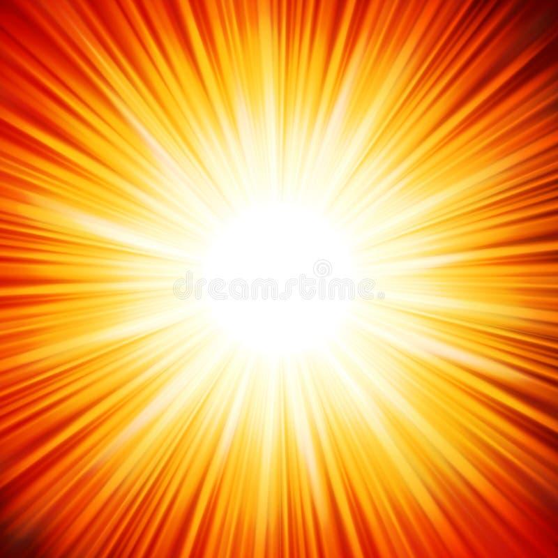 Звезда разрывала огонь красного цвета и желтого цвета. EPS 10 иллюстрация вектора