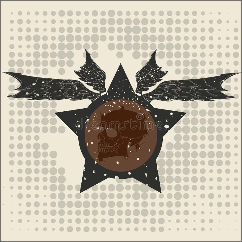 Звезда с крылами и черепом стоковое фото rf