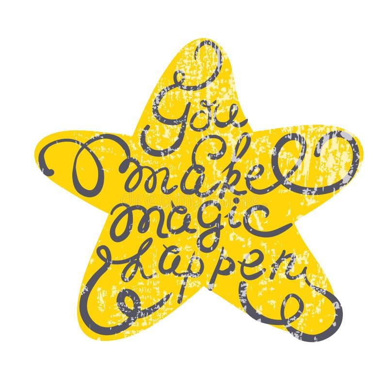 Звезда с нарисованным рукой плакатом оформления Романтичная цитата иллюстрация вектора