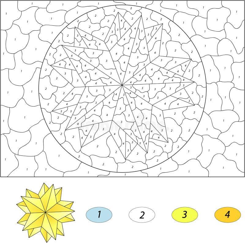 Звезда шаржа рождества Цвет игрой номера воспитательной для ребенк бесплатная иллюстрация