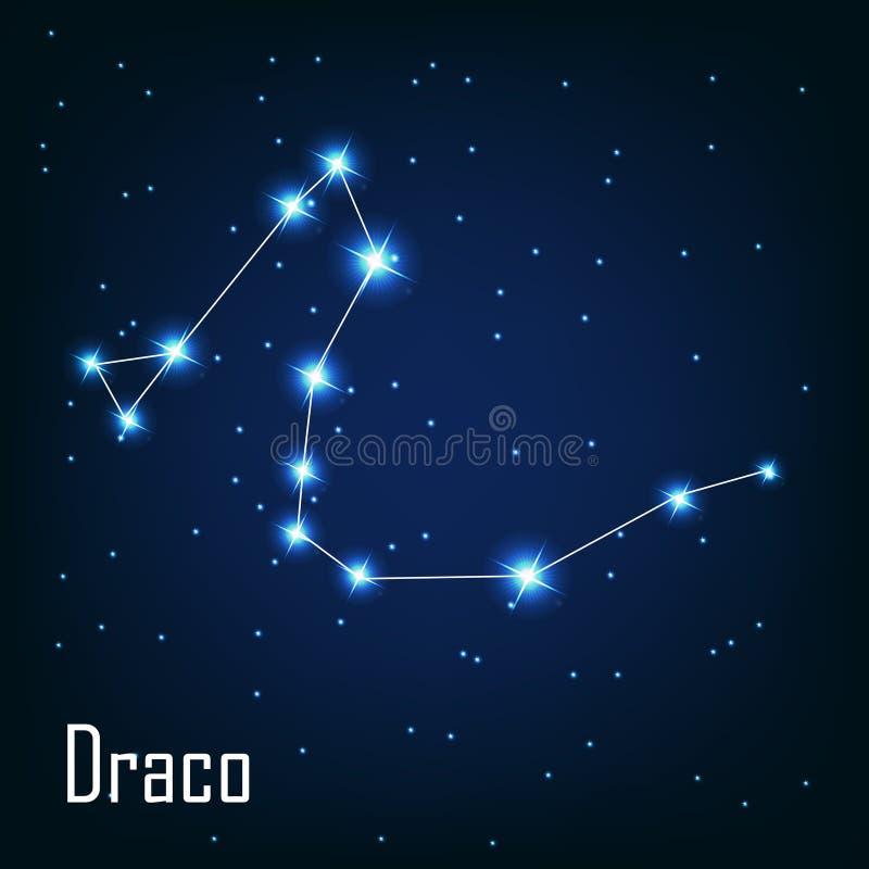 Звезда Draco созвездия в ночном небе. иллюстрация вектора