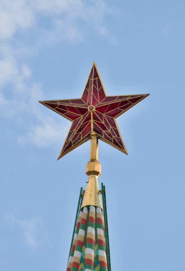 Звезда na górze башни Spasskaya, Кремль, стоковые фото