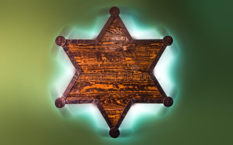 6 звезд шерифа пункта деревянных стоковая фотография rf