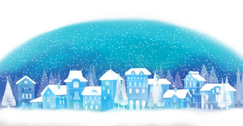 звезды абстрактной картины конструкции украшения рождества предпосылки темной красные белые Городок зимы benches покрытая городом стоковая фотография
