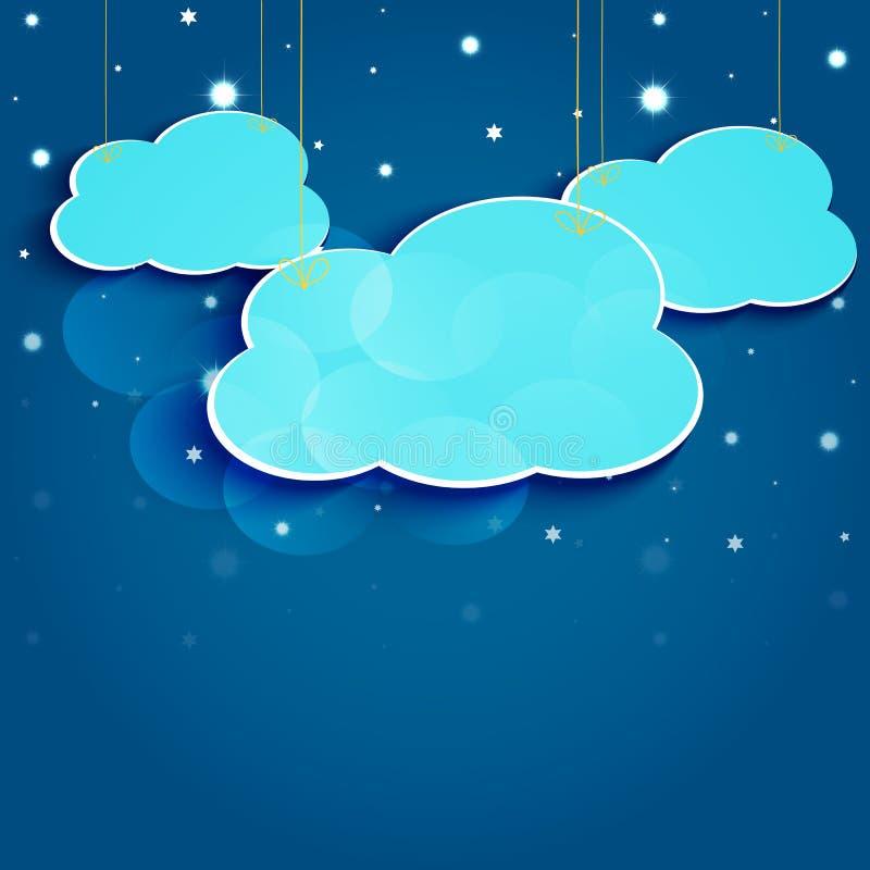 Звезды и облака шаржа в ночном небе. Вектор EPS10. бесплатная иллюстрация