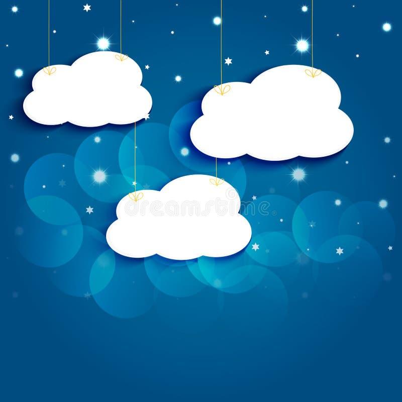 Звезды и облака шаржа в ночном небе. иллюстрация вектора