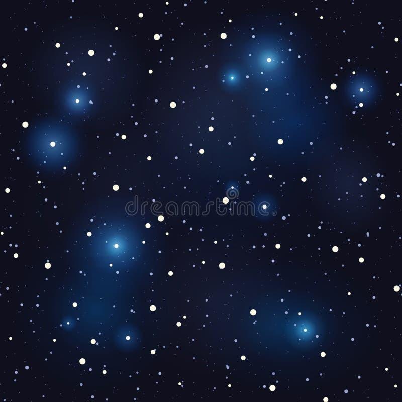 звезды ночного неба вектор предпосылки безшовный иллюстрация штока