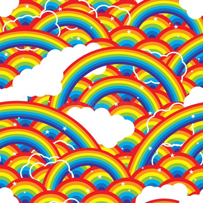 Звезды облака острова радуги картина половинной безшовная бесплатная иллюстрация