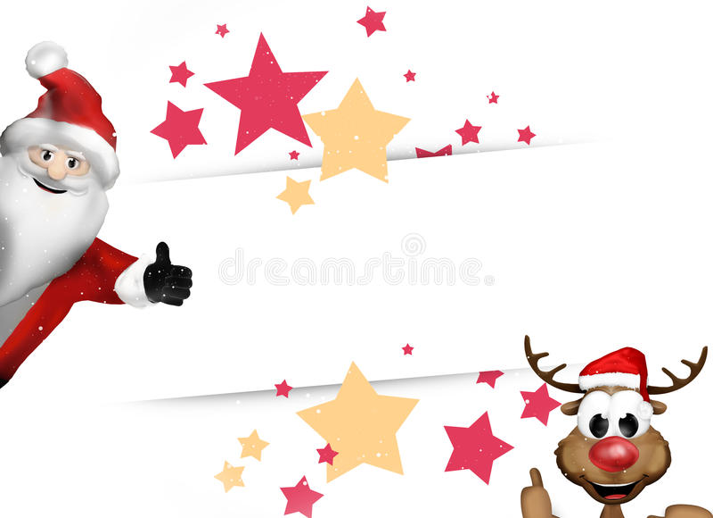 Звезды Санта Клауса и северного оленя праздничные бесплатная иллюстрация