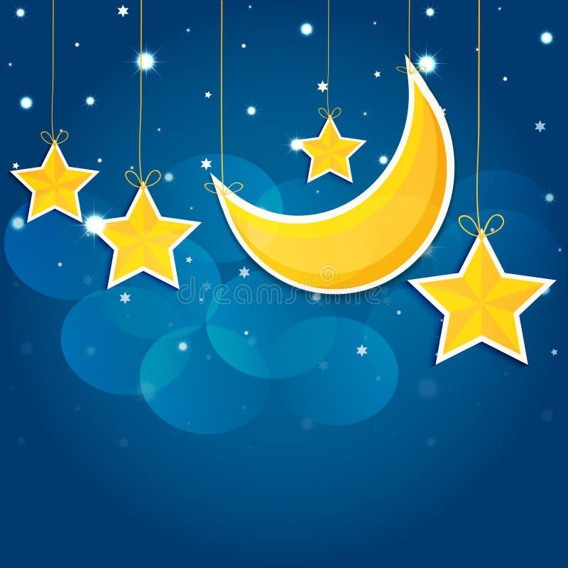 Звезды шаржа в ночном небе желтый цвет обоев вектора уравновешивания rac померанцовой картины цветков eps10 выстегивая ric stripe иллюстрация вектора