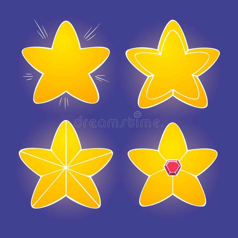 Звезды шаржа желтые лоснистые на темной предпосылке, vector сияющие значки иллюстрация штока